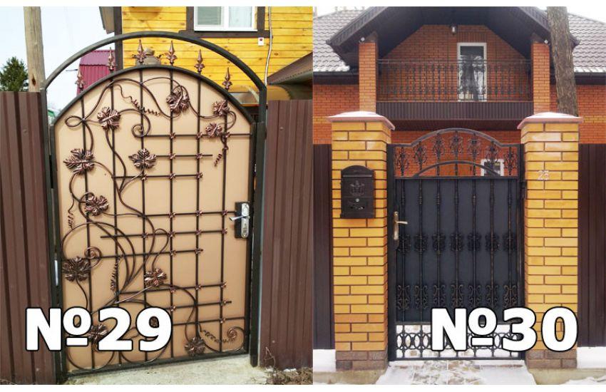 кованые ворота с калиткой для дома